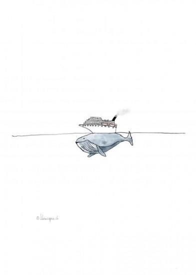 Der Walfisch und die Flüchtenden.